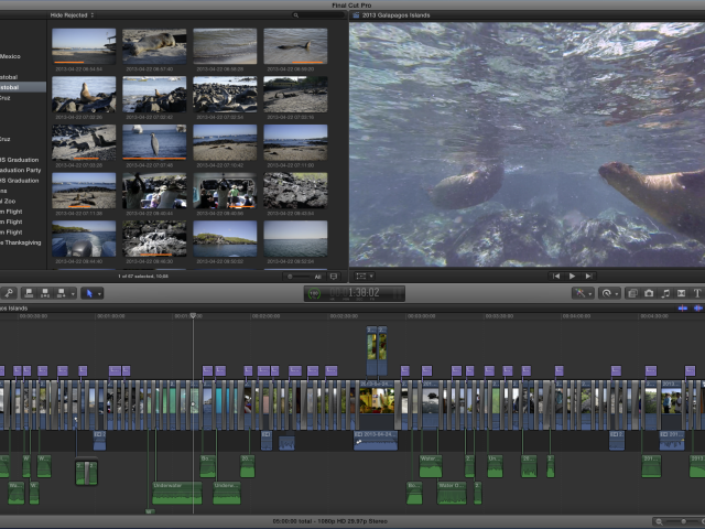 Final Cut Pro X Galapagos Project Timeline